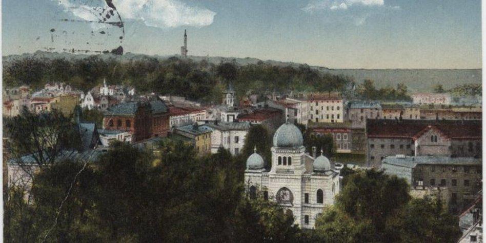 Die Synagoge in Eberswalde auf einer Postkarte vor der Zerstörung.